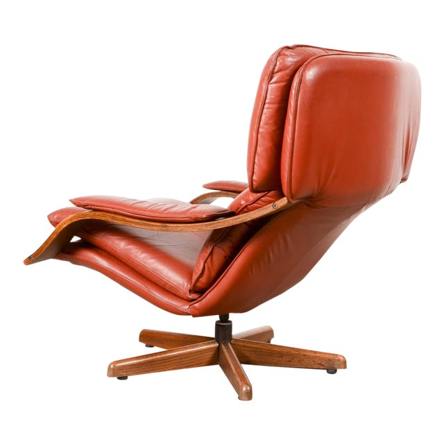 Image of Majestic Mid-Century Design Scandinavian Swivel Relax Maroon Leather Lounge Chair, 1960s