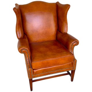 English Saddle Leather Mahogany Wingback Chair For Sale