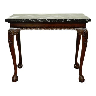 Vintage Carved Mahogany Chippendale Style Ball and Claw Marble Top Console Table For Sale