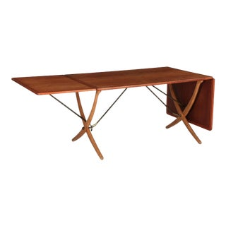 1960s Vintage Andreas Tuck Hans Wegner Sabre-Leg Dining Table For Sale