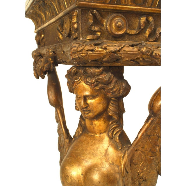 Mid 19th Century French Empire Gilt Sphinx Carved Console Table For Sale - Image 5 of 6