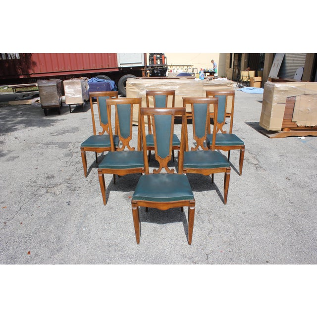 1940s French Art Deco Solid Mahogany Dining Chairs by Jules Leleu - Set of 6 For Sale - Image 13 of 13