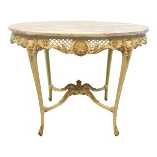 Early 20th Century French Carved Marble Top Table For Sale