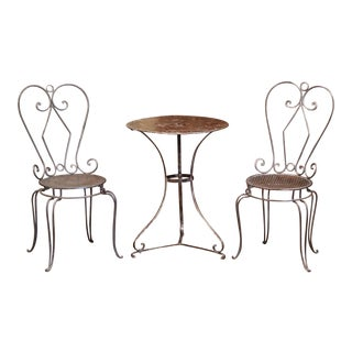 19th Century French Polished Iron Pedestal Table and Two Matching Chairs - Set of 3 For Sale