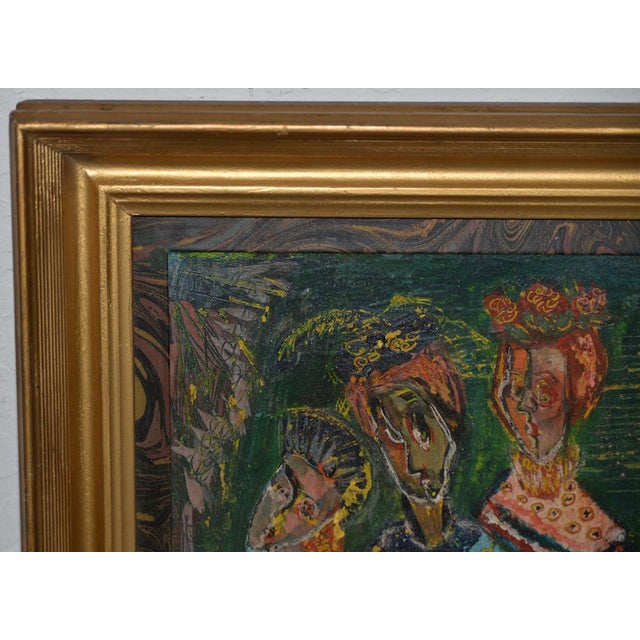 """Oil Paint Ruth Rosekrans (1926-2007) """"Sisters"""" Original Oil Painting C.1950s For Sale - Image 7 of 10"""