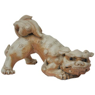 Japanese Glazed Earthenware Crouching Foo Dog For Sale
