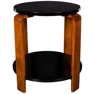 Art Deco Streamline Two-Tier Occasional Table in Black Lacquer and Walnut For Sale