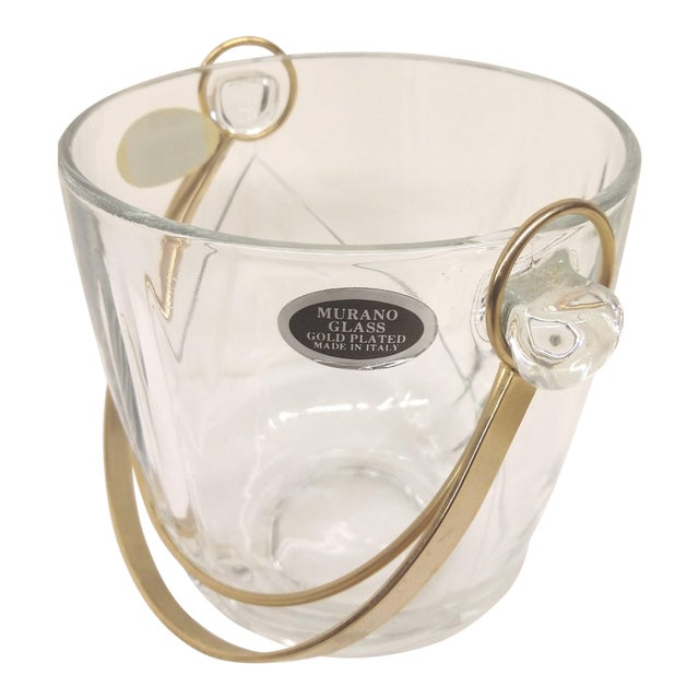 Vintage Italian Murano Glass Gold Plate Ice Bucket & Tongs For Sale