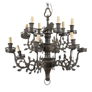 Gothic Form Brass 2 Tier 12 Light Chandelier For Sale