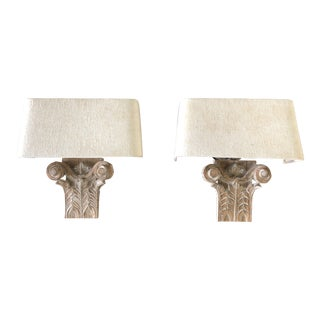 French Country Carved Wood Wall Sconces With Linen Shades - a Pair For Sale