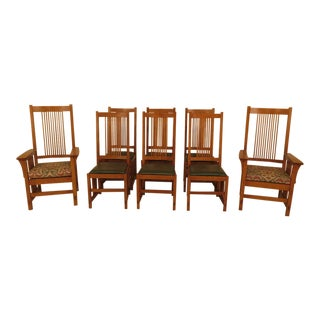 Stickley Mission Oak High Spindle Back Dining Chairs - Set of 8 For Sale