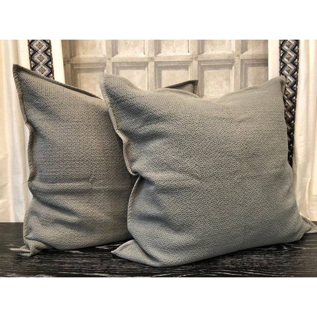 Mid Grey Honeycomb Euro Shams - Set of 2 For Sale In Chicago - Image 6 of 6