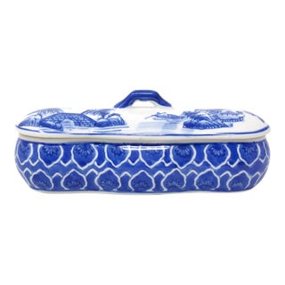 Vintage Hand Painted Blue and White Lidded Box or Jar For Sale