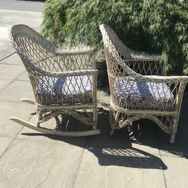 Farmhouse Vintage Wicker Rocker & Chair - a Pair For Sale - Image 3 of 10