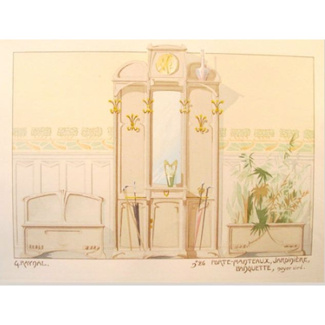 Vintage French Decorator Sheet Interior/Coatrack - Image 2 of 3