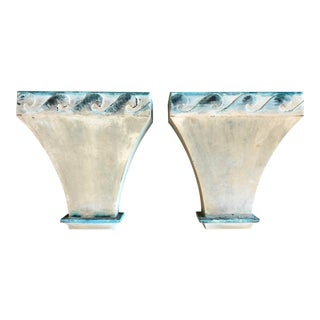 20th Century Metal Uplight Wall Sconces With Wave Details - a Pair For Sale