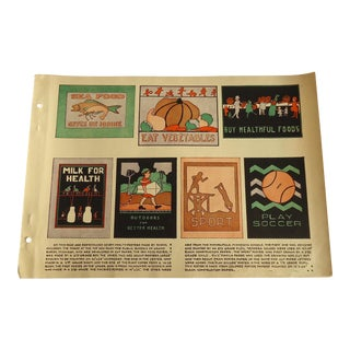 Health Poster Designs Art Deco Print Character Culture Citizenship Guides, 1930s For Sale