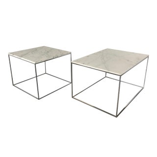 Milo Baughman for Thayer Coggin Chrome & Marble Occasional Tables - a Pair