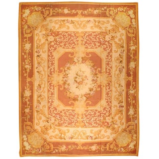 Antique Oversize 19th Century French Aubusson Carpet For Sale