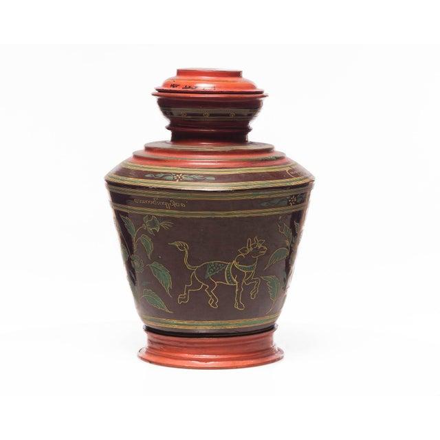 Wood Antique Burmese Lacquer Ginger Jar For Sale - Image 7 of 7