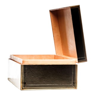 Lawrence & Scott Black Regalia Leather Box With Brass Stand as Side Table For Sale