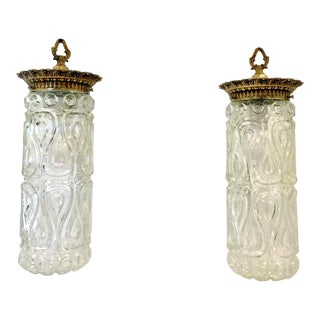 Vintage Mid Century Cylinder Brass and Pressed Glass Pendant Lights - a Pair For Sale