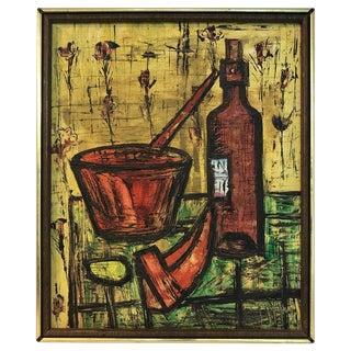 French School Still Life in the Manner of Bernard Buffet For Sale