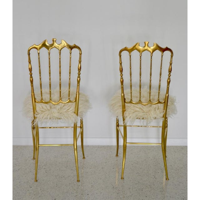 Gold Mid-Century Brass Side Chairs - a Pair For Sale - Image 8 of 13