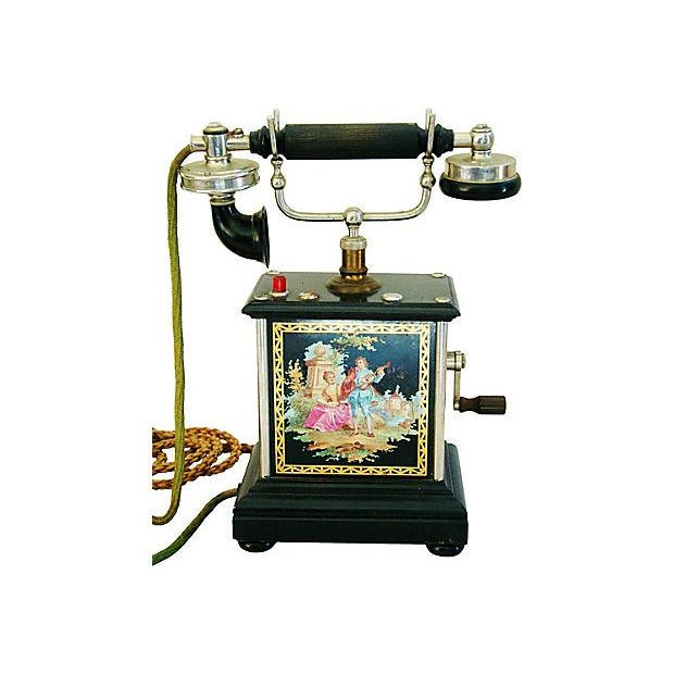 Antique French Hand-Painted Crank Handled Telephone - Image 4 of 10