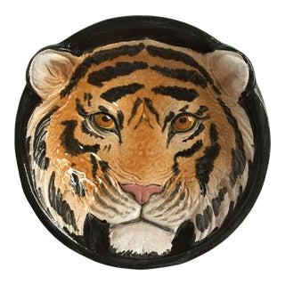 Italian Mid-Century Tiger Face Pottery Bowl/Catchall For Sale