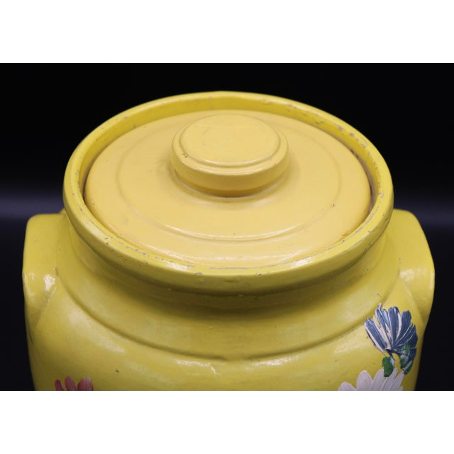 Canary Yellow Vintage Yellow Hand Painted Floral Pottery Jar For Sale - Image 8 of 13