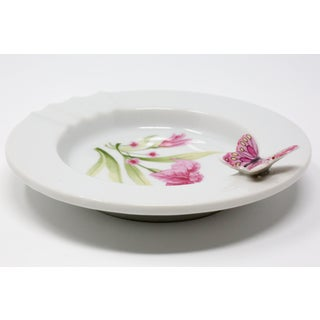 Vintage Ceramic Ashtray With Pink Flowers and Figural Butterfly Preview
