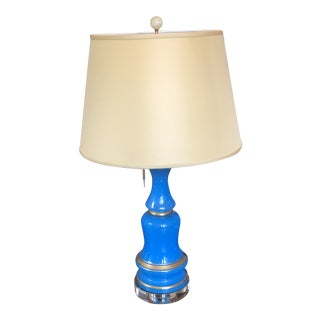 19th Century Blue Opaline Glass Lamp With Shade For Sale