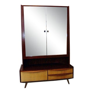 1950s Mid Century Modern Mahogany and Harewood Wardrobe Armoire Chiffarobe For Sale