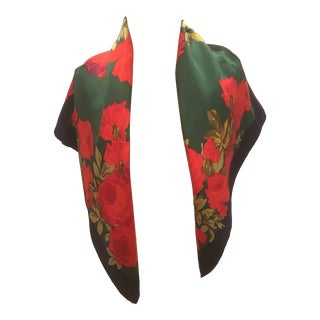 Very Vintage Beautiful Color-Blocked Yves Saint Laurent Floral Silk Scarf For Sale