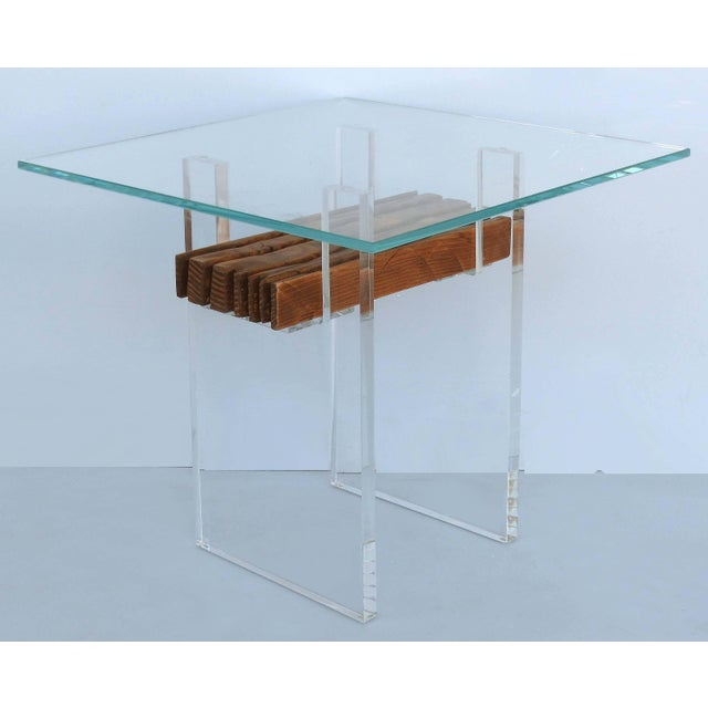 Contemporary Lucite, Wood and Glass Side Table For Sale - Image 3 of 7