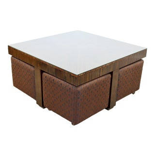 Contemporary Modernist Henredon Zebra Wood Cocktail Coffee Table Rolling Stools For Sale