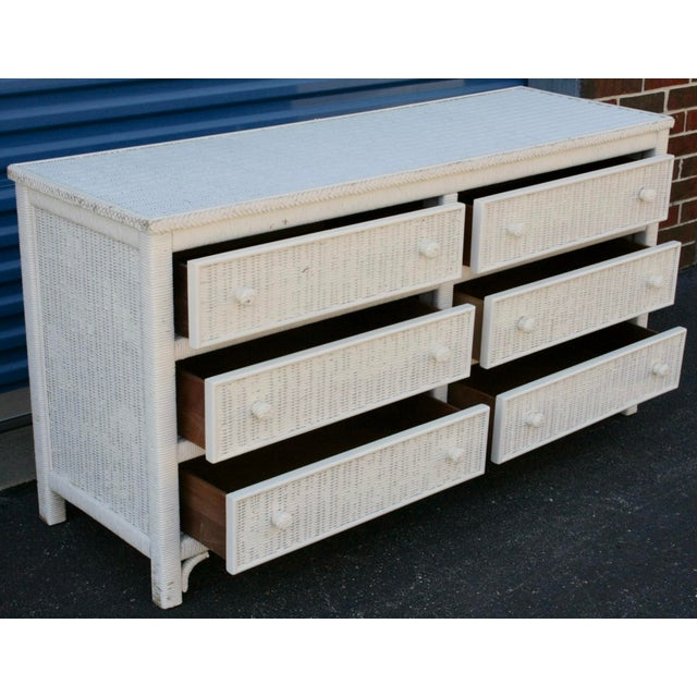 Henry Link White Wicker 6-Drawer Double Dresser - Image 7 of 11