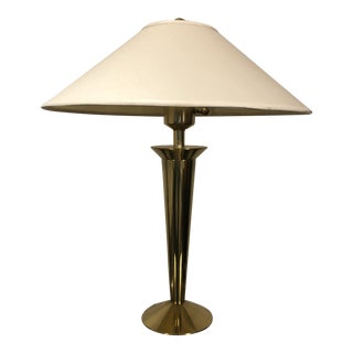 Stiffel Modern Solid Brass Table Lamp with Original Shade For Sale