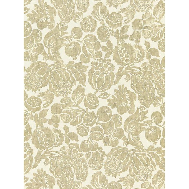 Traditional Scalamandre Elsa Linen Print, Burnished Gold Fabric For Sale - Image 3 of 3