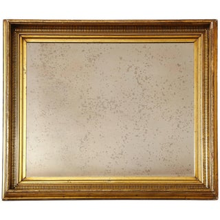 Gilded Mirror Frame With Painted Black Striped Molding and Antique Glass For Sale