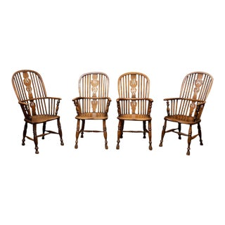 Set of Eight High-back Windsor Armchairs, English circa 1850 For Sale