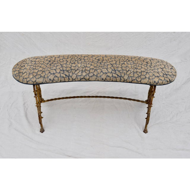 Gilt Iron Bench in Indigo Blue Leopard For Sale In Philadelphia - Image 6 of 13