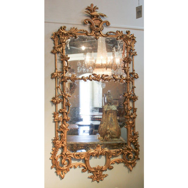 Rare Early 19th Century English Chippendale Gilt Mirror For Sale - Image 9 of 10
