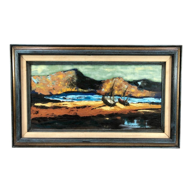 1960s Oil on Canvas Ships on Shoreline Signed Carrie For Sale