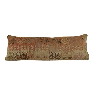 Queen Boho Woven Bedding Kilim Pillow Cover, Oversize Turkish Lumbar Cushion With Anatolian Design, Rustic Farmhouse Decor 16'' X 48'' (40 X 120 Cm) For Sale