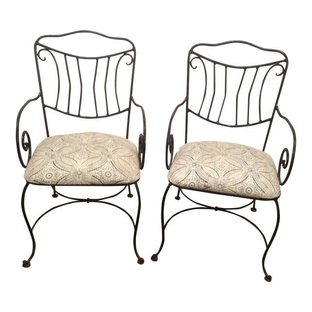 Pair of Black Wrought Iron Garden Chairs For Sale