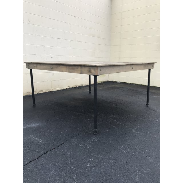 Rustic Rustic Dove Gray Wood Square Farm Table For Sale - Image 3 of 11