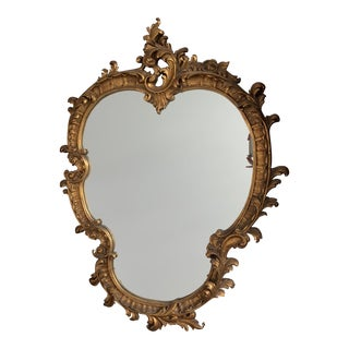 1950's Baroque Gilded Wood Oval Heart Shaped Mirror For Sale