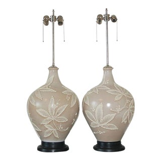 Vintage Italian Ceramic Table Lamps Taupe For Sale